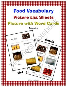Food Vocabulary Word Cards; Great for ESL or ESOL students! from Tiffany Brodsky on TeachersNotebook.com (12 pages)  - This product is a combination of vocabulary picture cards and lists.  This is a terrific resource for primary students and for students who are just learning English.