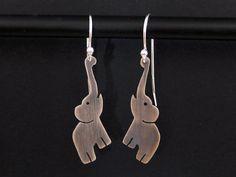 Silver Elephant Earrings - 925 African Elephant Jewelry - Oxidized Dangle Earrings on Etsy, $39.00