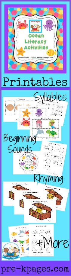 Printable Ocean Theme Literacy Activities for Preschool and Kindergarten