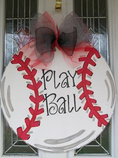 Large baseball door hanger or wall hanging. Can be personalized w/any name or saying for no extra cost. $35 w/out large bow or $40 as picture w/xl deco mesh bow. Check out my facebook page (Blue Pickle Designs) for lots more items & ordering!!