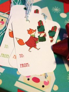 FREE printable cute fox gift tags.
