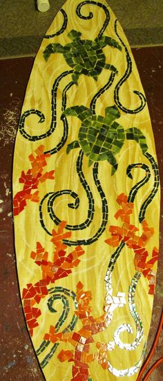 Stained Glass Mosaic Surfboard 5ft Wall Art on Wood Base. Made to Order - Sea Turtles and Coral. $400.00, via Etsy.