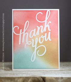 Lovely watercolor card with Another Thank You photopolymer set.