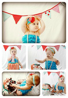 Red and teal vintage 1st birthday cake smash with tips on how to DIY