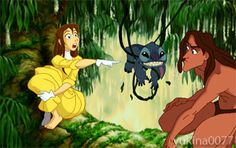 Hah!  Fan Art of Jane,Tarzan and.... Stitch for fans of Disney Leading Ladies. Isn`t it cute? ;)