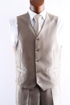 Men's Single Breasted Two Button Light Tan 3 Pcs Vested suit- $89