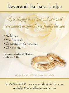 Rev. Barbara Lodge  - minister for Raleigh, Durham, Chapel Hill, NC - weddings, vow renewals, commitment ceremonies - ncweddingminister.com