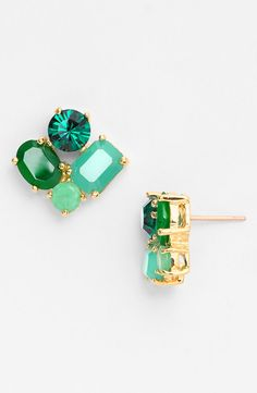 Such sparkly Kate Spade earrings! Love the mix of green stones and crystals.