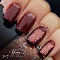 Half Moon Mani love this... #majikbeenz #glitterpolish #fallcolors #mani