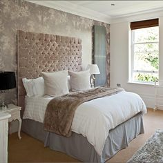 Bedroom colour palette: dusty pink, grey, taupe, white.