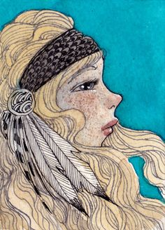 ATC: feathers and freckles by Renee Nault, via Flickr