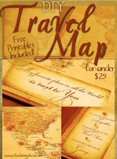 DIY Travel Map Date Idea from TheDatingDivas.com- this would be fun for a bridal shower present.  Let the new couple map their adventures together!