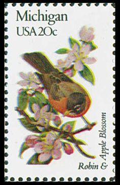 1982 Michigan State Stamp - State Bird Robin - State Flower - Apple Blossom