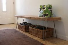 reclaimed wood | a place for shoes  bags by the door.