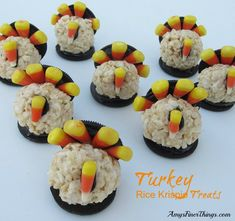 Turkey Rice Krispie Treats:  Need a cute Thanksgiving treat for your child's classroom or homeschool group?  My aunt has been toting these turkeys to our Thanksgiving meal for years. They are too cute as table toppers, and the kids love to gobble them up after dinner.  Enjoy!