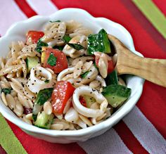 Calamari, veggies, and orzo salad
