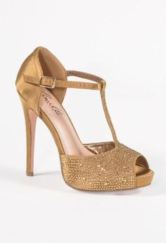 High Heel T-Strap Rhinestone Sandal from Camille La Vie and Group USA