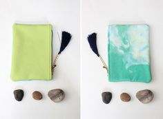 B R E E Z E / Mint & Green small leather pouch by DDSLLGirlsStore, $25.00