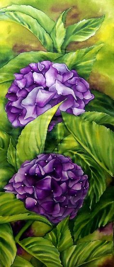 Vibrant Blooms ORIGINAL Silk Painting Canvas Mount by tinassilkart, $395.00