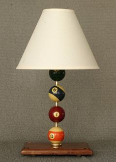 SALE Sale SaLE Vintage Billiards, Pool Ball, Game Room, Table Lamp, Ball numbers 7, 6, 13, 10. $99.00, via Etsy.