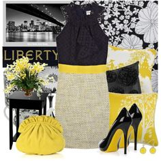 Love the yellow, black and white contrast as well as the sophisticated style.