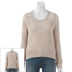 LC Lauren Conrad Open-Stitch Cropped Sweater - Women's #Kohls