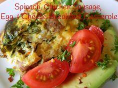 Spinach, Chicken Sausage, Egg & Cheese Breakfast Casserole