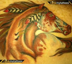 Unique Horse Tattoos | Pin War Of Horse And Horseshoe Tattoo on Pinterest