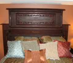 repurposed piano into headboard via Hands On Woodworker, featured @totgreencrafts