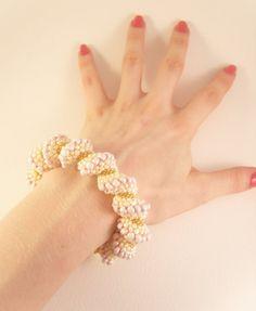 Chunky Spiral Bracelet Cream Bead Bracelet by JewelleryByJora, $56.00