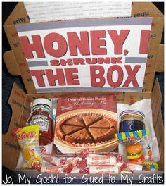 """Honey, I Shrunk The Box""   Care Package Idea"