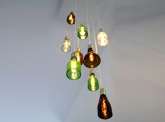 pendant lighting, pendant lamps, idea, recycled bottles, bottle lamps, beer bottles, beer bottle projects, diy, man caves