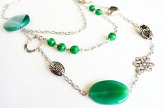 green necklace natural stone necklace green gemstone necklace long necklace mothers day gift ideas tibetan silver plated jewelry gift on Etsy, 59,00$