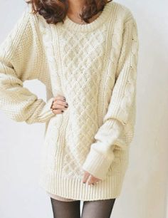 Women's Round Neck Cable Knit  Sweater
