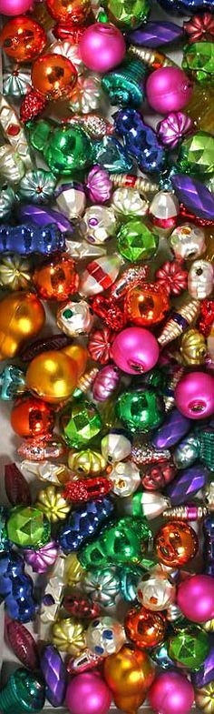 Hand made mercury glass beads from the Czech Republic for old fashioned Christmas tree garlands