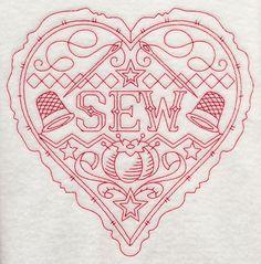 Sew Heart (Redwork) embroid heart, heart redwork, quilts, fabric quilt, quilt blocks, heart fabric, sew heart
