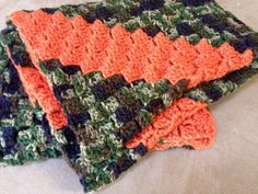 Camo and oragnge baby blanket   by mariedouglascreation on Etsy