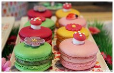 Cute idea to add a topper to a macaron  Ladybug Party For Girls Dessert Table