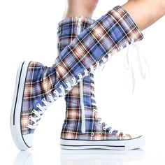 Blue Plaid Lace Up Knee High Boots Canvas Sneakers Womens Skate Shoes