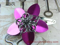 Pink Scalemaille Flower Hair Barrette by aislinnscollared on Etsy, $5.00