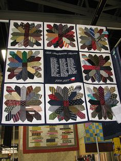 photos of multiple quilts made with old neckties-- time to dive into my collection!