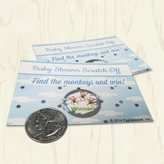 """Baby Shower Scratch Offs. Based on sweet nursery rhymes, players will find the fiddle from """"Hey Diddle Diddle"""" and the mittens from """"3 Little Kittens""""… but only the winner will find the 3 little monkeys! Blue baby shower games."""