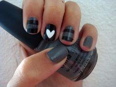 Nails, Nails, Nails Nails, Nails, Nails Nails, Nails, Nails heart nails, nail polish, color, nail designs, nail arts, black white, black nails, short nails, stripe