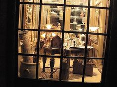another view of the dollhouse miniature antique shop and rare book store