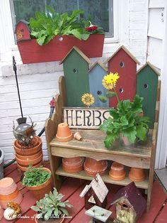 birdhous, gardenpot, garden benches, pot bench, potting benches