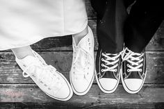 Break convention with your wedding footwear. Converse trainer sneakers (Black and white)