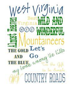 West Virginia Digital Art by LoveYouOutloud on Etsy. West Virginia Love <3