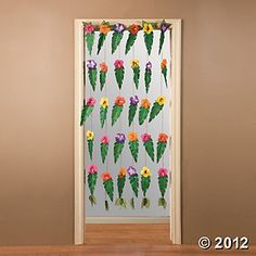 Tropical Door Curtain With Large Leaves $6  Hang on wall?