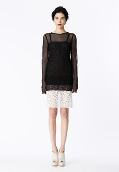 LOOK 10 Black stretch net long sleeve t-shirt.  Black honeycomb lace slip dress with white honeycomb lace band at hem.