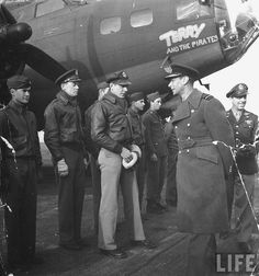 "King George VI of England meeting Capt. H.W. Terry and the crew of his B-17 named ""Terry and the Pirates"" in 1942. This is a B-17F-10-BO Flying Fortress (s/n 41-24489) from the 367th Bomb Squadron, 306th Bomb Group, 8th Air Force. Shot down by fighters over France on December 20,1942 ~"